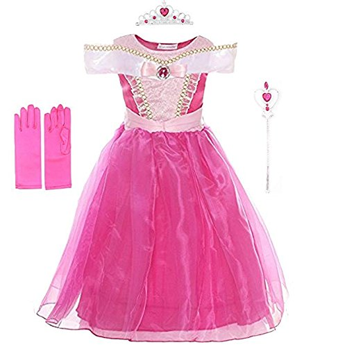 Dress Set Up Pink Princess (Rauoawby Little Girls Princess Long Dress for Aurora Costume Dress up Set Halloween Fairy Tales Costume Cosplay Party (130/5, Hot Pink))