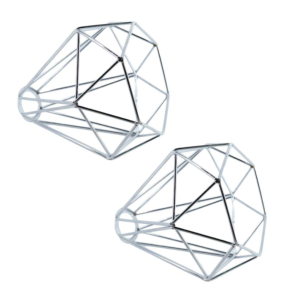 """2pcs Vintage Cage Lampshade, Motent Industrial Retro Metal Painted Bulb Guard, Diamond Shaped Iron Wrought Lampholder, Creative 1-Light DIY Lighting Fixture, 6.2"""" Dia for Drop Light Wall Lamp - Silver"""