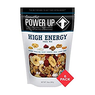 Power Up Trail Mix, High Energy Trail Mix, Keto-Friendly, Paleo-Friendly, Non-GMO, Vegan, Gluten Free, No Artificial Ingredients, Gourmet Nut, 14 oz Bag (6 Pack)