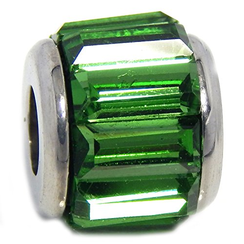 PJEWELRY Stainless Steel Spacer with Rectangular Emerald Green Crystals Bead for Bracelets