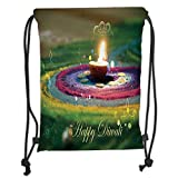 Custom Printed Drawstring Sack Backpacks Bags,Diwali,Tribal Religious and Festive Celebration with Happy Wishes Quotation Photo Print Decorative,Multicolor Soft Satin,5 Liter Capacity,Adjustable Strin