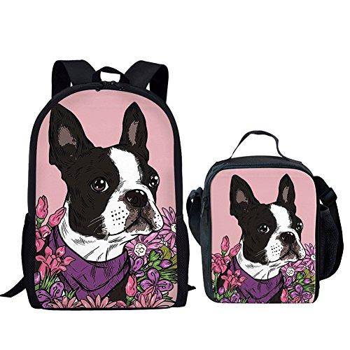 (HUGS IDEA School Backpack Set Floral Boston Terrier Pattern Kids Girls School Bag and Lunch Bag Sets)