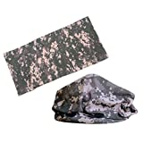 Tactical Camo Headband Versatile Sports Headwear ACU Camo Neck Gaiters. Perfect for Running & Hiking, Biking & Riding, Skiing & Snowboarding, Hunting, Working Out & Yoga for Women and Men. (Acu Camo)