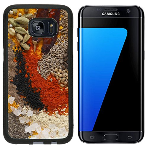 Luxlady Premium Samsung Galaxy S7 Edge Aluminum Backplate Bumper Snap Case IMAGE ID: 24189918 Asian curry spices in the centre black pepper coriander seeds black mustard cumin seeds around that dr