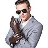 S-TARIUS Touchscreen Texting Winter Gloves Mens Italian Goatskin Leather Driving Gloves Brown-L