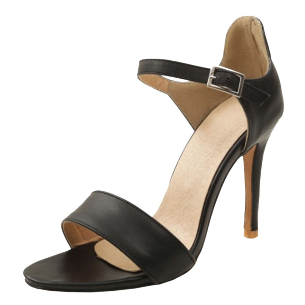 TAOFFEN Damen High Heel Sandalen Schuhe Knochelriemchen Black