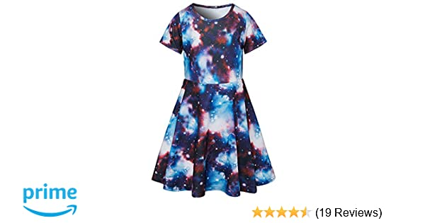 05085017a2 Amazon.com  Funnycokid Kids Girls 3D Printed Dress Short Sleeve Swing Party  Dresses 2-9 Years  Clothing
