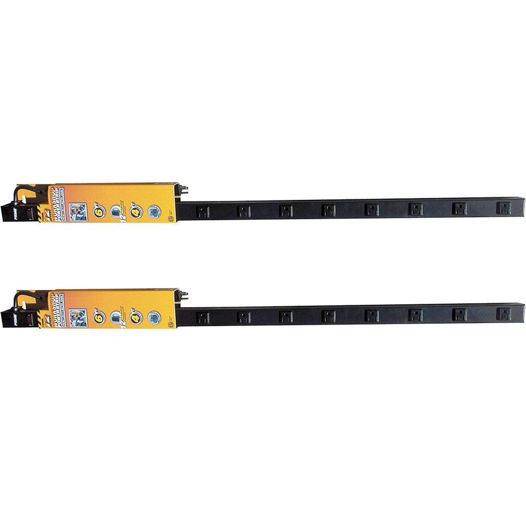 Prime Wire & Cable PB800012 12-Outlet 4-Foot Metal Power Strip with 6-Foot Cord, Black, 2-Pack