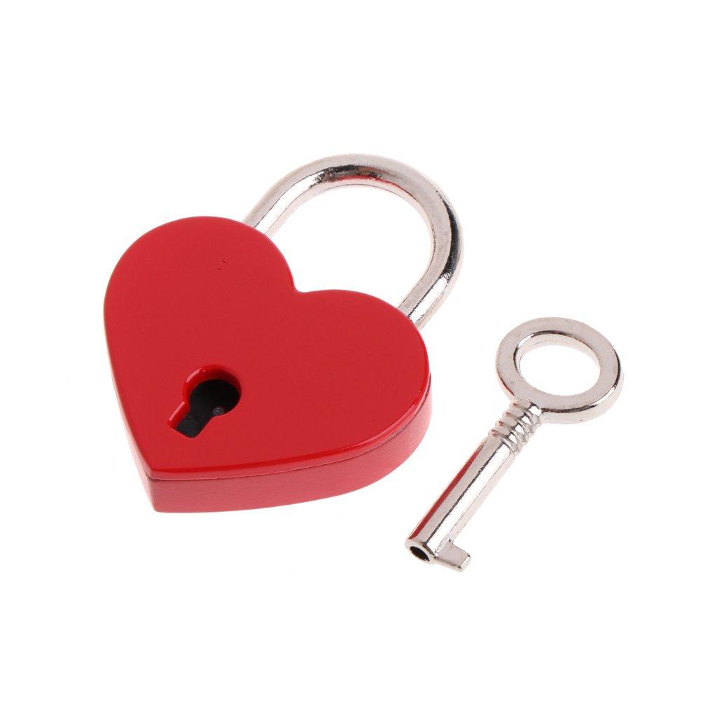 manyo Mini metal candado con llave, forma de corazón, 3× 4cm, 7colores para la selección, ideal para joyas caja Diario Libro, Dorado forma de corazón 3× 4cm 7colores para la selección