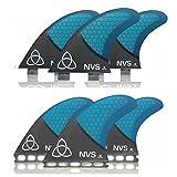 Naked Viking Surf Medium JL Thruster Surfboard Fins (Set of 3) Blue Carbon, FCS Base