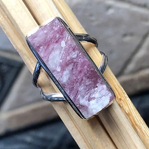 (Genuine Pink Tourmaline 925 Solid Sterling Silver Emerlad Shape Cluster Ring sz 7.25)