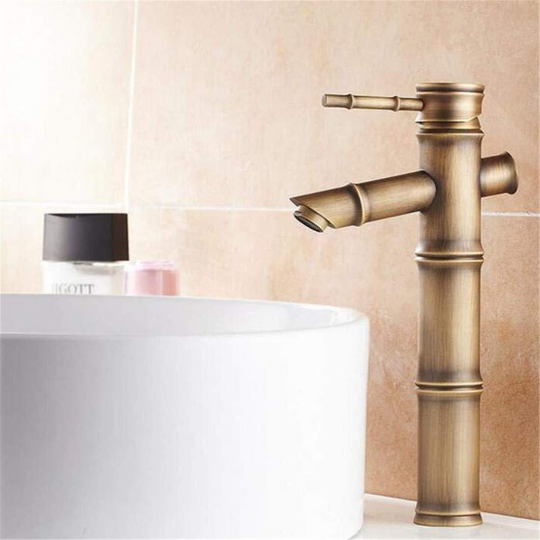 Faucet Retro Kitchen Bathroom Faucet Faucet Washbasin Mixert All Antique Bathroom Faucet Single Handle Bamboo Water Tap