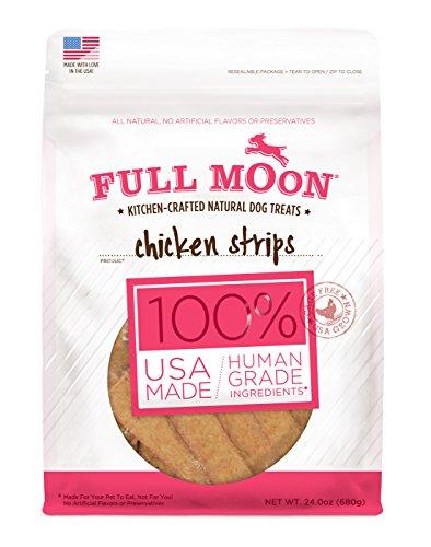 Full Moon All Natural Human Grade Dog Treats, Chicken Strips, 24 Ounce