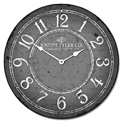 Gray & White Wall Clock, Available in 8 sizes, Most Sizes Ship 2 - 3 days, Whisper Quiet.