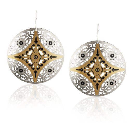 Tone Disc Earrings - Starfish Project, Two-Tone Lattice Disc Earrings with Black Accents and Sterling Silver Hooks