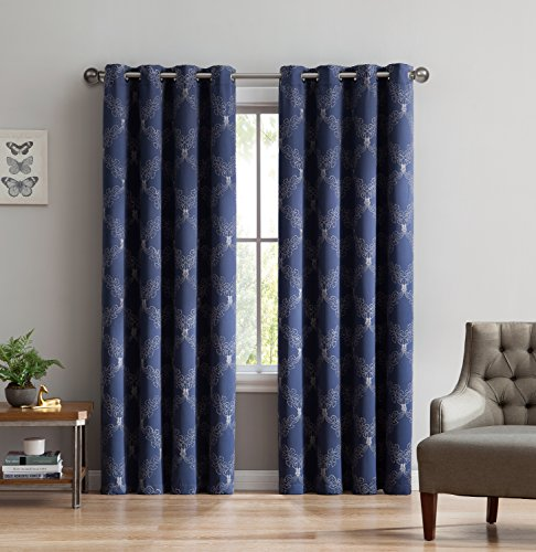 Camilla - Premium quality Embroidered Thermal Weaved Blackout Window Treatment By Linen Source - Energy Efficient -Noise Reduction - Blocks 97% of Light & UV Rays (54