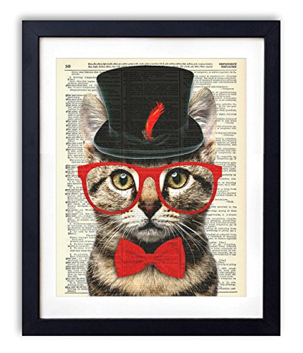 Mr. Catsanova Gentleman Cat Vintage Upcycled Dictionary Art Print - 8x10 - Vintage Cat