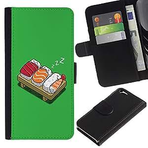 Planetar® Modelo colorido cuero carpeta tirón caso cubierta piel Holster Funda protección Para Apple (4.7 inches!!!) iPhone 6 ( Funny Lol Sushi Bed )