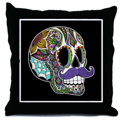 CafePress Mustache Sugar Skull Throw Pillow - Standard Multi-color