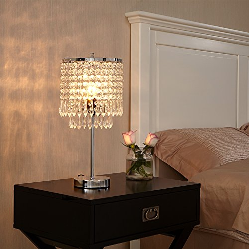POPILION Creative Fashion Design Bedroom Bedside Crystal Table Lamp,Hand Picked Crystal Photo #5