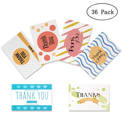 36 Pack Thank You Cards Bulk, Thank You Notes, Blank Note Cards With Envelope and Stickers 4 x 6 Inches - Perfect for Wedding, Baby Shower, Bridal Shower,Graduation, Business