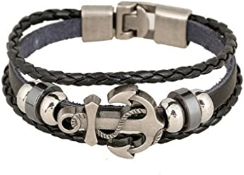 Euromen Pulseras De Hombre Handmade Retro Leather Woven Anchor Bracelet Men PL0028