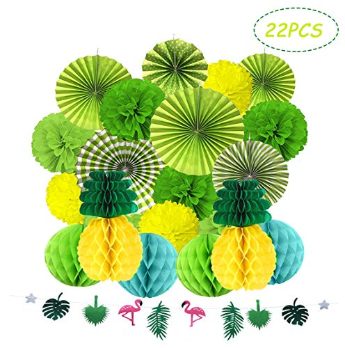 Kalolary Tropical Party Honeycomb Decoration, Summer Party Honeycomb Pineapple Ball, Poms Poms Paper Flower Fan Honeycomb Balls for Hawaiian Summer Beach Luau Party Festival Decorations(Green)