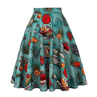 ZMLIA Womens Frida Kahlo Vintage 1950s High Waist Swing Rockabilly Midi Skirts