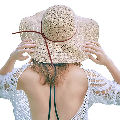 de1eb70cabca8 Amazon.com  Zuozee Sun Hats for Women Summer Beach Hat Foldable Floppy  Straw Hat Wide Brim Packable UV Hats  Sports   Outdoors