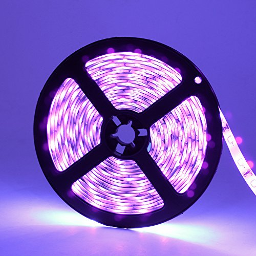 YGS-Tech 24 Watts UV Black Light LED Strip, 16.4FT/5M 3528 300LEDs 395nm-405nm Waterproof IP65 Blacklight Night Fishing Sterilization implicitly Party with 12V 2A Power Supply by YGS-Tech (Image #1)
