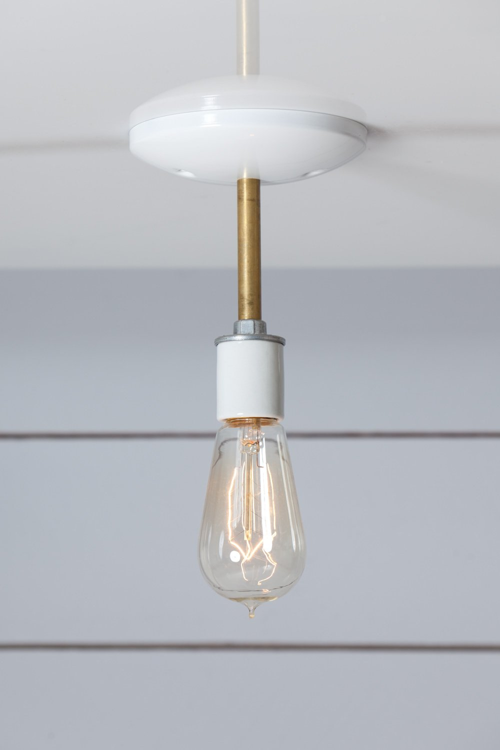 Brass and White Semi Flush Mount Ceiling Light - Bare Bulb ...