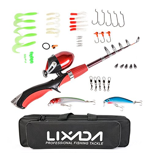 Lixada Fishing Rod Reel Combos 1.4m Portable Mini Telescopic Fishing Pole and Closed Fishing Reel Combo with Fishing Lure Jig Head Hook Barrel Swivel Box