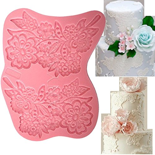 Cake Topper Lace - Anyana big Vintage Flower vine Lace Candy Silicone Mold for Sugarcraft, Cake Decoration, Cupcake Topper, Fondant, Jewelry, Polymer Clay, Crafting Projects, Non stick easy to use 3pcs