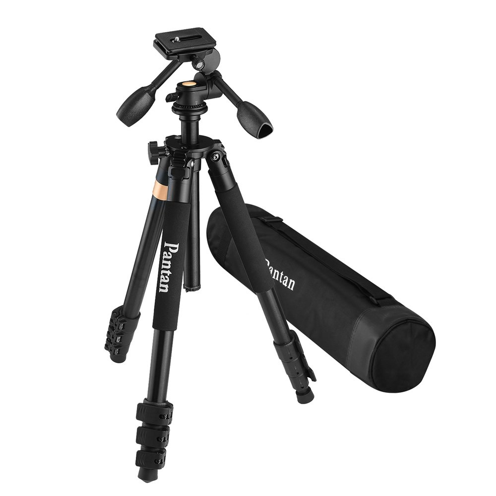 Pantan Q6 Plus Big Size Professional Aluminum Magnesium DV Tripod for DSLR Camera & Video Recorder 3-way Tripod Head Max Height 72 Inches Max Load 44 Lbs Carrying Bag Included