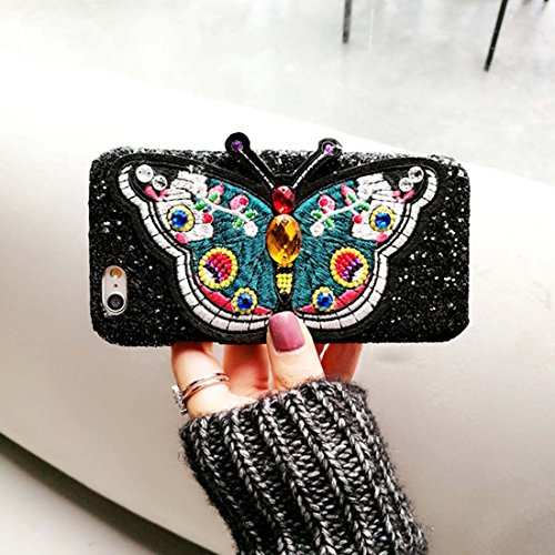 Pour iPhone 6 Plus / 6s Plus, Broderie Butterfly Pattern Glitter Powder Acrylic Protective Back Cover Case JING