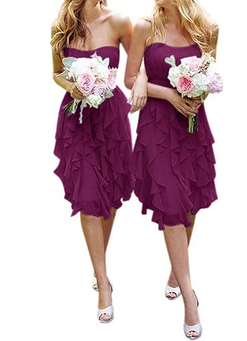 Womens Knee Length Country Bridesmaid Dress Western Wedding Guest Dress