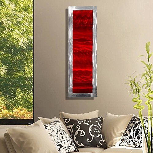 Statements2000 Vivacious Red & Silver Jewel Tone Modern Accent with Abstract Wave Etchings - Metal Wall Art - Contemporary Home Decor, Metallic Wall Accent - Inner Fire 2 by Jon - Accent Metal Silver Tone