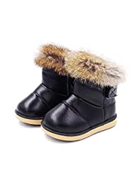 MODEOK Girl's Leather Outdoor Waterproof Fur Lined Winter Snow Boots ()