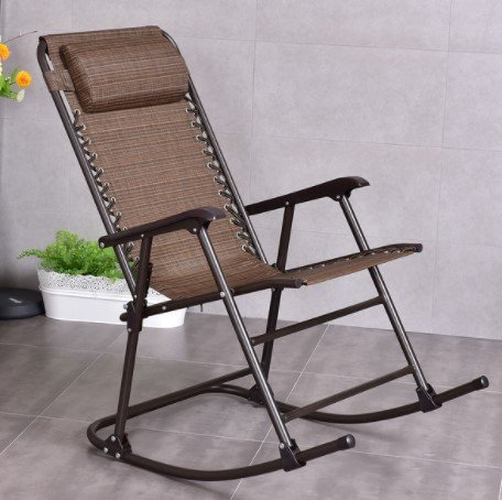 Costway Folding Rocking Chair Porch Patio Indoor Foldable Rocker Seat With Headrest, Sturdy And Stable Steel Material, Convenient To Use, 250lbs. Weight Capacity