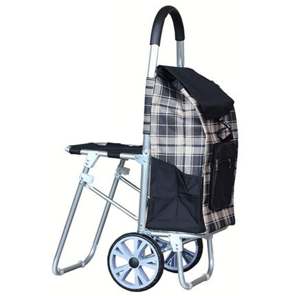 Lxrzls Large Climbing Chair ,Shopping Cart, Folding Portable Shopping Trolley ,Luggage Cart (Color : Black)