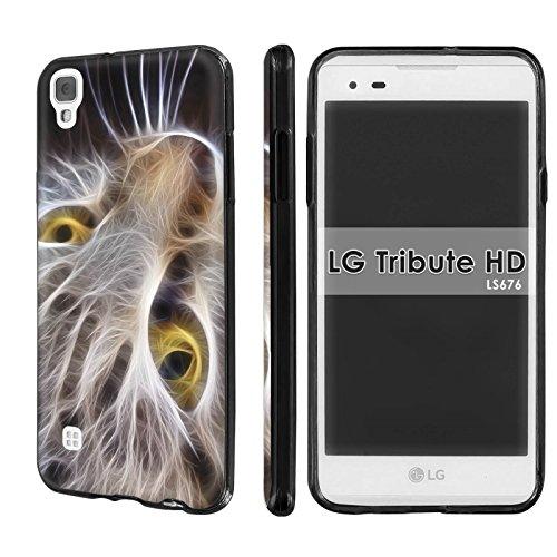 ([Nakedshield] Slim Flexi Case For LG [Tribute HD] [X Style] [Black] Total Armor Rubber Gel Phone Case - [Cat Face] Print Design)