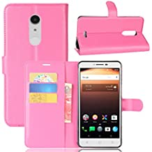 Alcatel A3 XL Case, BasicStock Flip Wallet Case Premium PU Leather Back Cover [Card Slots] [Stand] Folio Cover for Alcatel A3 XL (Hot Pink)