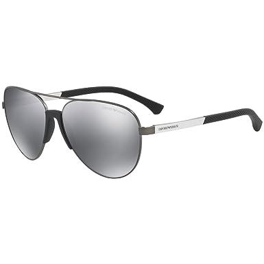 ce240e6c276f Image Unavailable. Image not available for. Color  Emporio Armani EA2059  30106G Matte Gunmetal EA2059 Pilot Sunglasses ...