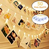 KAZOKU Photo Clips String Lights, [Upgraded] Indoor and Outdoor String Lights with 50 LED Warm White Photo Clips for Dorms Bedroom Decoration(Free Gift -5 PCS Wall Hooks)