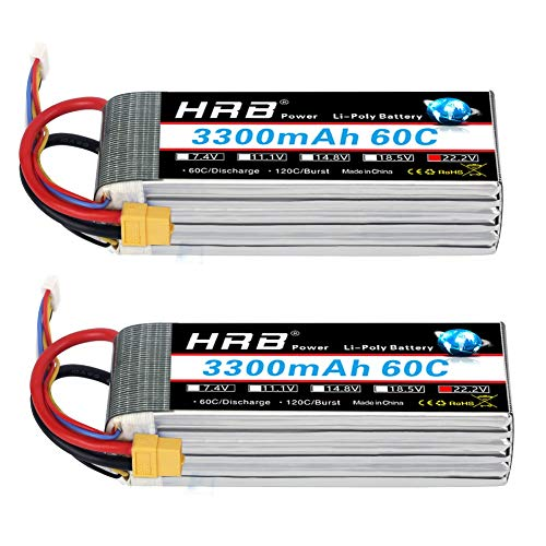 - HRB 2packs 6S 22.2V 3300mAh 60C RC Rechargeable Lipo Battery with XT60 Plug for Lipo Battery for RC Quadcopter Helicopter Car Truck Boat Hobby (5.31x1.73x1.57inch)