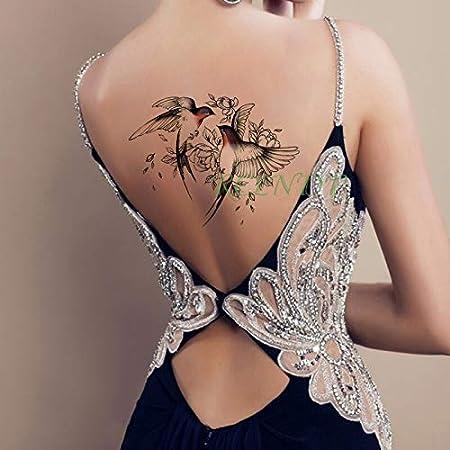 Oiseau Etanche Tatouage Temporaire Autocollant Rose Tatto Tatoo Tattoo Grand Corps De Taille Arriere Pour Les Femmes De Fille Amazon Fr Cuisine Maison