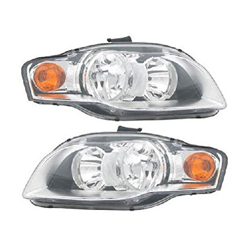 Headlights Headlamps Left & Right Pair Set Halogen for Audi A4 S4