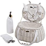 Willow Picnic Basket w Dinner Service in Cream