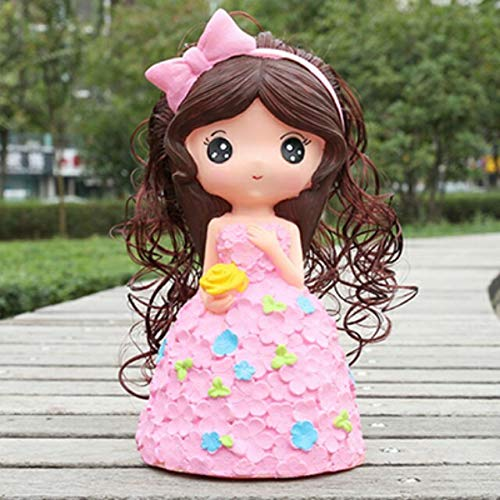 Bank Tiara Piggy Princess - Large Fashion Creative Cartoon Cute Baby Girl Long-haired Girl Piggy Bank Drop Birthday Gift (Pink Cute Princess
