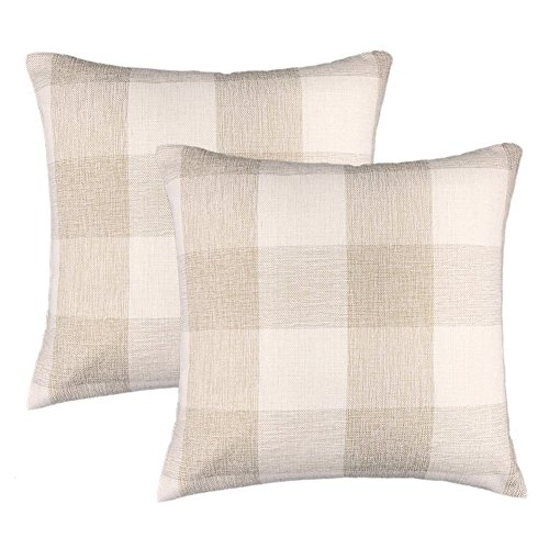 4TH Emotion 20 x 20 Inch Farmhouse Decoration Beige White Checkers Plaids Linen Square Throw Pillow Case Decorative Cushion Cover Pillowcase Cushion Case for Sofa, Set of 2